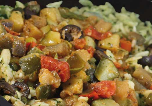 Orzo & Spinach with Caponata Sauce