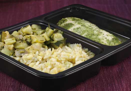 Basil Chicken with Rice & Zucchini Saute- Individual Meal