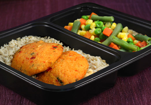 Crab Cake, Brown Rice & Mixed Vegetables - Individual Meal