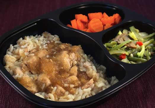 Diced Chicken with Teriyaki Sauce, White Rice, Japanese Blend Vegetables and Carrots - Individual Meal