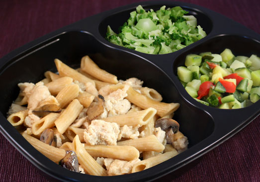 Diced Chicken with Marsala Sauce & Penne Pasta, Broccoli, Zucchini with Red Peppers - Individual Meal