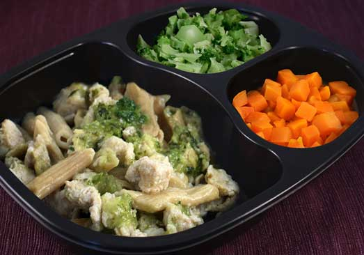 Diced Chicken with Rotini Pasta In Pesto Sauce, Broccoli And Carrots - Individual Meal