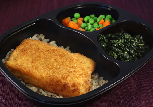 Breaded Baked Haddock with Lemon Dill Brown Rice, Spinach, Peas & Carrots - Individual Meal