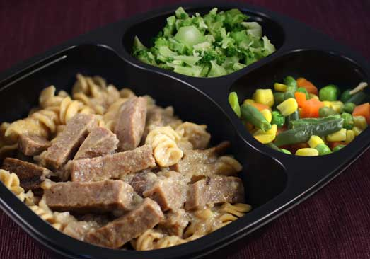 Beef Stroganoff with Rotini Pasta, Broccoli & Mixed Vegetables - Individual Meal