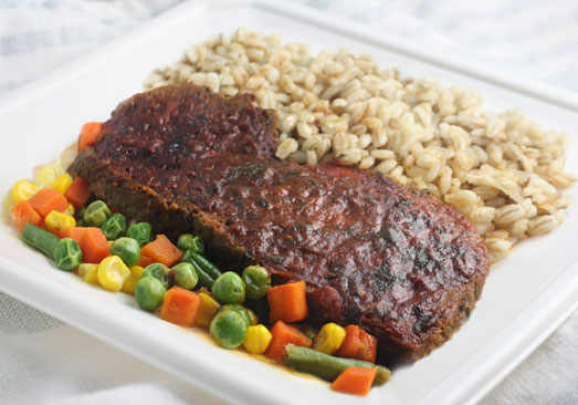 Home-style Meatloaf with Tomato Gravy, Barley Mushroom Risotto & Mixed Vegetables - Individual Meal