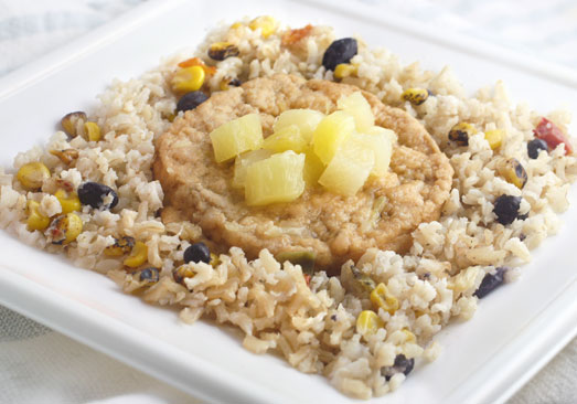 Mesquite Smoked Salmon Cake over Brown Rice with Grilled Pineapple, Black Beans and Corn - Individual Meal