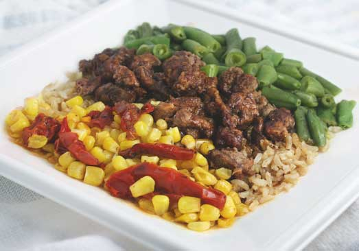 Beef with Smoky Barbecue Sauce over Rice with Corn & Green Beans - Individual Meal