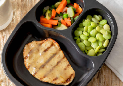 Chicken Patty with Rosemary Gravy with Lima Beans and Spring Vegetables- Individual Meal