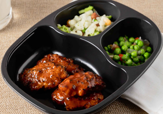 BBQ Pork Riblets & Honey BBQ Sauce, Green Pea Blend and Autumn Blend - Individual Meal
