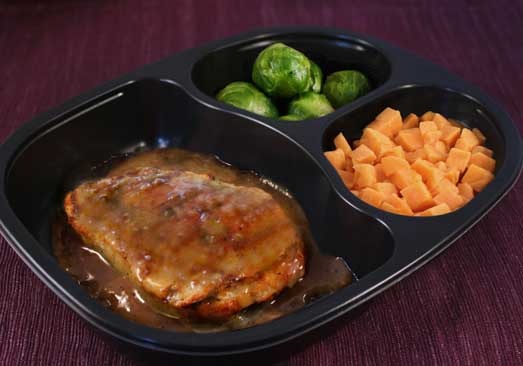 Honey Mustard Chicken Patty with Sweet Potatoes & Brussels Sprouts - Individual Meal