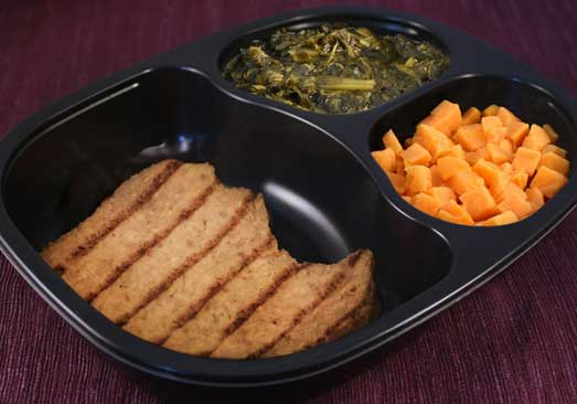 Grilled Pork Patty with Brown Gravy, Mixed Greens & Sweet Potatoes - Individual Meal