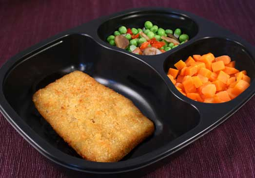 Breaded Pollock, Peas with Mushrooms, Onions, Red Peppers, Carrots - Individual Meal