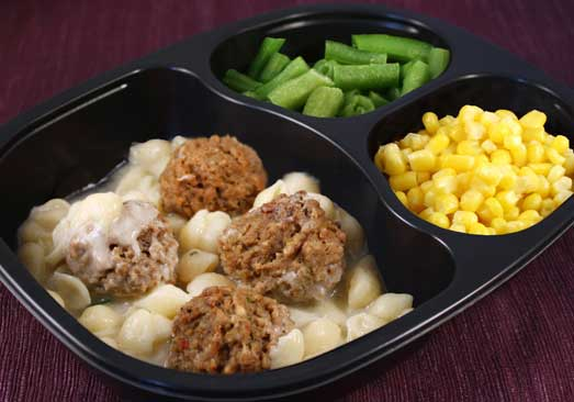 Beef Meatballs & Alfredo Shell Pasta, with Corn with Peppers & Green Beans -Individual Meal