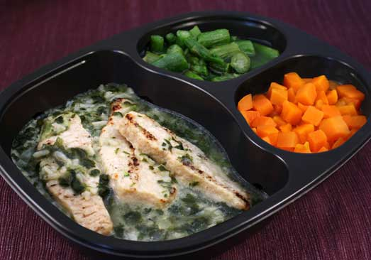 Grilled Chicken with Florentine Rice, Asparagus & Carrots- Individual Meal