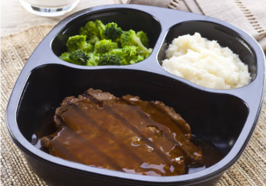 Beef Patty & Onion Gravy, Red Skin Potatoes and Broccoli - Individual Meal