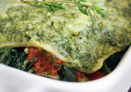 Spinach Mushroom Lasagna With Light Pesto Sauce