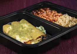Chicken Cheese Enchilada with Tomatillo Sauce, Rice & Pinto Beans
