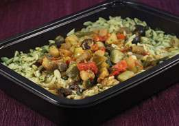 Vegetable Caponata with Orzo & Spinach, a renal-friendly meal