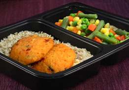 Crab Cake, Brown Rice & Mixed Vegetables