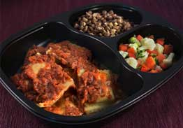 Cheese Ravioli with Marinara Sauce, Lentils with Onion & Garlic, Vegetable Blend - Individual Meal