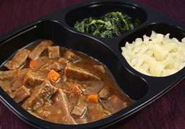 Diced Beef Stew with Potatoes and Carrots, Spinach and Cauliflower- Individual Meal
