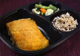 Breaded Baked Haddock with Orange Brown Rice and Asian Vegetables - Individual Meal