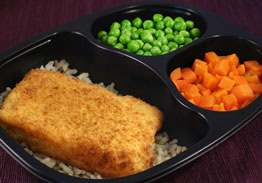 Breaded Haddock with Lemon Cilantro Rice, Carrots & Peas