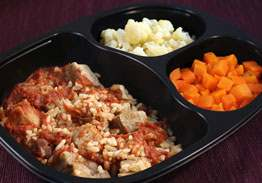 Roast Pork with BBQ Sauce, Brown Rice with Kidney Beans, Cauliflower, Carrots - Individual Meal