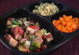 Sweet & Sour Pork with Brown Rice, Carrots, Green Beans, Broccoli, Onions, Mushrooms and Red Bell Pepper - Individual Meal