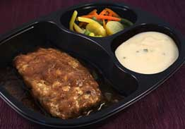 Homestyle Meatloaf Slices with Onion Brown Gravy, Mashed Potatoes & Vegetables - Individual Meal