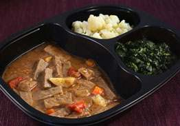 Diced Beef Stew with Potatoes and Carrots, Spinach and Cauliflower - Individual Meal