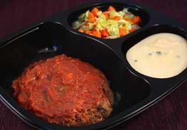 Swiss Style Beef Patty with Mashed Potatoes, Carrots &Cabbage - Individual Meal