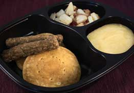 Pancakes with Apples & Turkey Sausage, Roasted Red Potatoes & Spiced Apples - Individual Meal