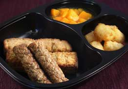 French Toast Sticks, Turkey Sausage, Tater Tots, Peaches - Individual Meal