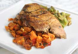 Grilled Chicken Breast with Hickory Barbeque Sauce, Sweet Potato Hash & Broccoli - Individual Meal