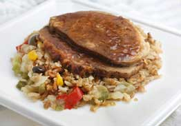 Roasted Pork with Hickory Barbecue Sauce, Southwestern Style Rice & Mixed Vegetables - Individual Meal
