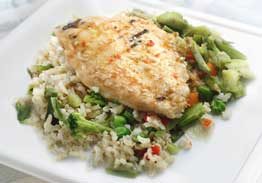 Tangerine Orange Chicken Breast With Stir Fry Vegetables & Brown Rice - Individual Meal