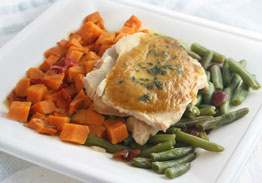 Roast Turkey with Gravy, Sweet Potato Hash & Green Beans with Cranberries - Individual Meal