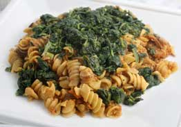 Turkey Mushroom Sauce Over Rotini Pasta With Spinach - Individual Meal