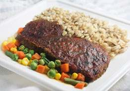Home-style Meatloaf with Tomato Gravy, Barley Mushroom Risotto & Mixed Vegetables