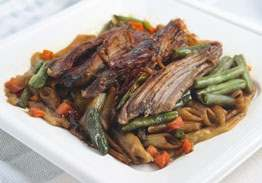Beef Pot Roast with Red Wine Sauce over Noodles with Carrots & Green Beans