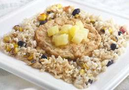 Mesquite Smoked Salmon Cake over Brown Rice with Grilled Pineapple, Black Beans & Corn - Individual Meal