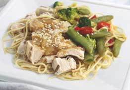 Honey Garlic Sesame Chicken Breast over Lo-Mein Noodles, Snap Pea Stir Fry - Individual Meal