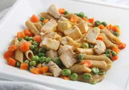 Creamy Cheese Sauce over Penne with Diced Chicken, Peas & Carrots - Individual Meal