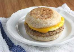 Turkey Sausage Egg and Cheddar Cheese on English Muffin