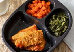 Chicken Tenders with Honey Mustard Sauce, Spinach and Carrots - Individual Meal