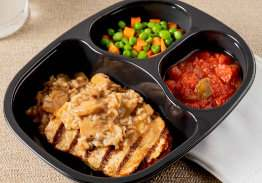Chicken & Mushroom Swiss Rice with Peas & Carrots and Stewed Tomatoes - Individual Meal
