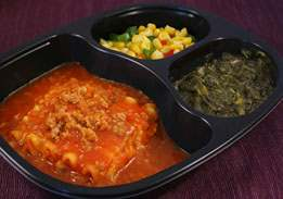 Lasagna with Meat Sauce with Mixed Greens, Corn with Peppers- Individual Meal