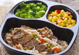 Beef Strips with Asian Orange Rice & Vegetables - Individual Meal