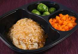 Chicken Patty with Apricot Rice, Carrots, Brussels Sprouts -Individual Meal